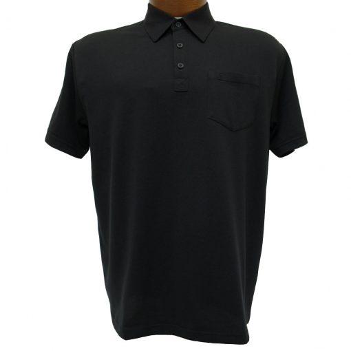 Men's Gabicci Polo Shirt, Short Sleeve Knit With Hard Collar, #Z05 Black