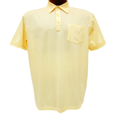 Men's Gabicci Short Sleeve Knit Hard Collared 52% Cotton 48% Polyester Polo Shirt, #Z05 Corn