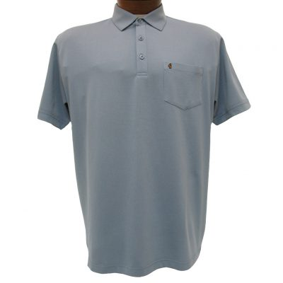 Men's Gabicci Short Sleeve Knit Hard Collared 52% Cotton 48% Polyester Polo Shirt, #Z05 Steel