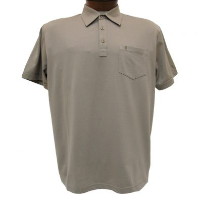 Men's Gabicci Short Sleeve Knit Hard Collared 52% Cotton 48% Polyester Polo Shirt, #Z05 Stone