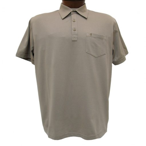 Men's Gabicci Polo Shirt, Short Sleeve Knit With Hard Collar, #Z05 Stone
