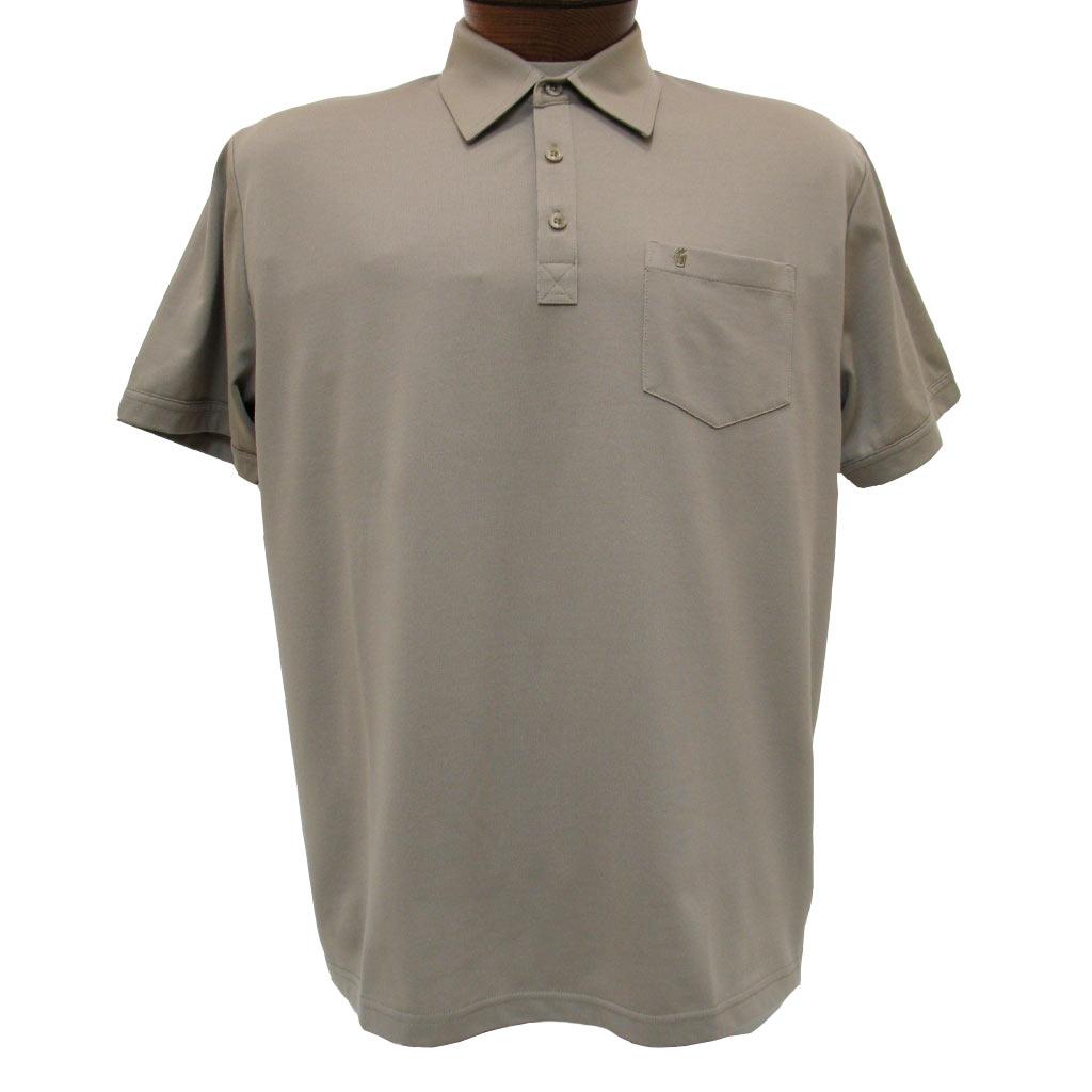 Men's Gabicci Polo Shirt, Short Sleeve Knit With Hard Collar, #Z05 Stone