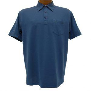 Men's Gabicci Short Sleeve Knit Hard Collared 52% Cotton 48% Polyester Polo Shirt, #ZO5 Indigo