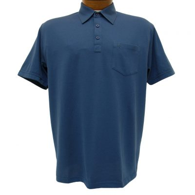 Men's Gabicci Short Sleeve Knit Hard Collared 52% Cotton 48% Polyester Polo Shirt, #Z05 Indigo