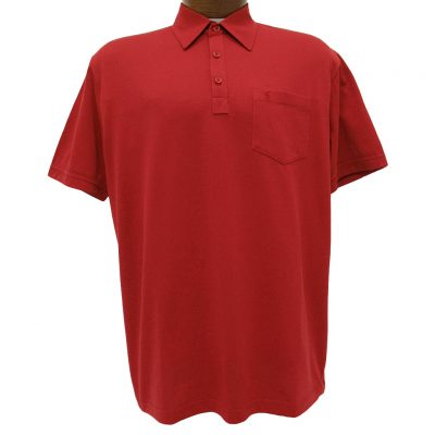 Men's Gabicci Short Sleeve Knit Hard Collared 52% Cotton 48% Polyester Polo Shirt, #ZO5 Red