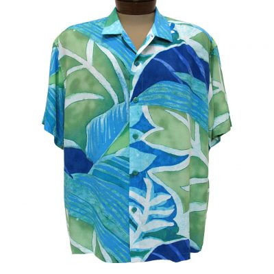 Men's Jams World® Short Sleeve Original Crushed Rayon Retro Aloah Shirt, Blue Jay