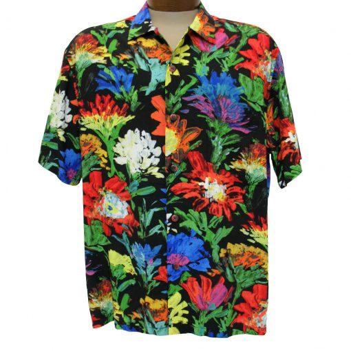 Men's Jams World® Short Sleeve Original Crushed Rayon Retro Aloah Shirt, Dahlia