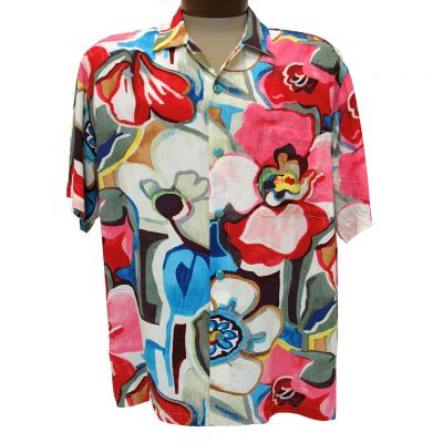 Men's Jams World® Short Sleeve Original Crushed Rayon Retro Aloah Shirt, Tavern
