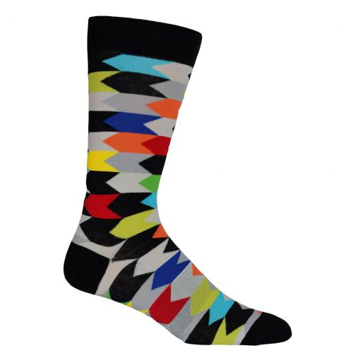Men's K. BELL® Fashon Crew Socks Chevron Striped, Black