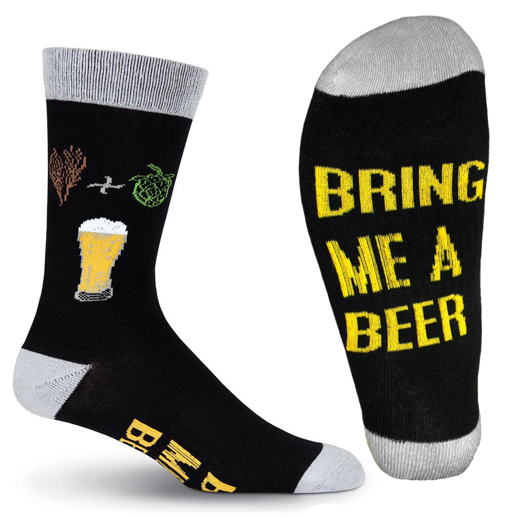 Mens K. BELL® Made In America Novelty Crew Socks, Bring Me A Beer Black