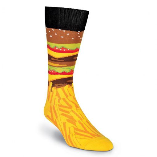 Men's K. BELL® Novelty Crew Socks Burger And Fries, Black