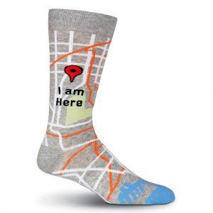 "Men's K. BELL® Novelty Crew Socks ""I Am Here"" Grey Heather"