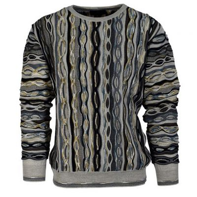 Men's Montechiaro® Made in Italy Long Sleeve Textured Crew Neck Sweater #181201 Grey
