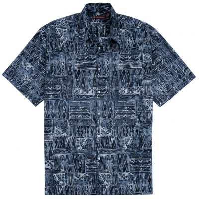 Men's Tori Richard® Cotton Lawn Relaxed Fit Short Sleeve Shirt, Cat's Cradle #6449 Black