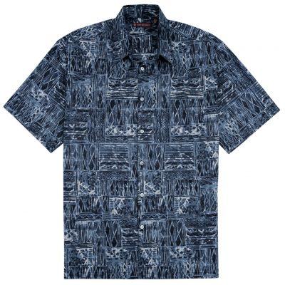 Men's Tori Richard® Cotton Lawn Relaxed Fit Short Sleeve Shirt, Cat's Cradle #6449 Black