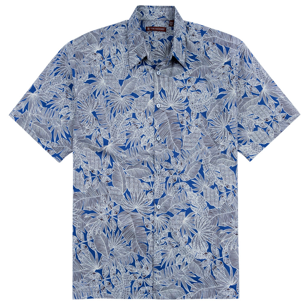 Men's Tori Richard® Cotton Lawn Relaxed Fit Short Sleeve Shirt, Jungle Tribe #MA08 Navy