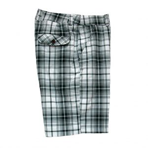 Men's Basic Options Stretch Plaid Shorts Black/White (36, ONLY!)