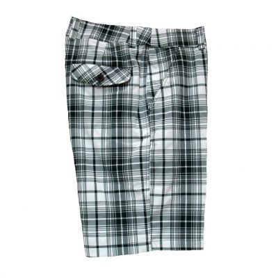 Men's Basic Options® Stretch Plaid Shorts Black/White