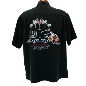 Men's Bamboo Cay® Short Sleeve Embroidered Modal Blend Aloha Shirt, Vinoasis #WB7000 Black