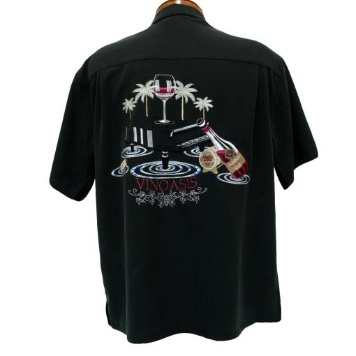 Men's Bamboo Cay® Short Sleeve Embroidered Modal Blend Aloha Shirt, Vinoasis #WB7000 Black