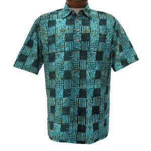 Men's Basic Options Short Sleeve Knit Pull Over Batik Shirt #61862-4, Teal Green Squares