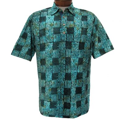 Men's Basic Options® Short Sleeve Knit Pull Over Batik Shirt #61862-4, Teal Green Squares