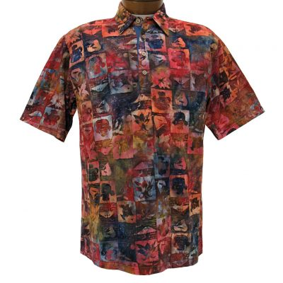 Men's Basic Options® Short Sleeve Knit Pull Over Pineapples Batik Shirt #61867-5, Multi