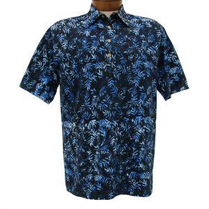 Men's Basic Options Short Sleeve Knit Pull Over Batik Shirt #61868-3, Blue Bamboo