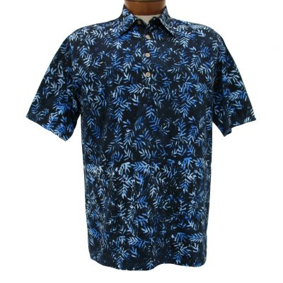 Men's Basic Options® Short Sleeve Knit Pull Over Batik Shirt #61868-3, Blue Bamboo