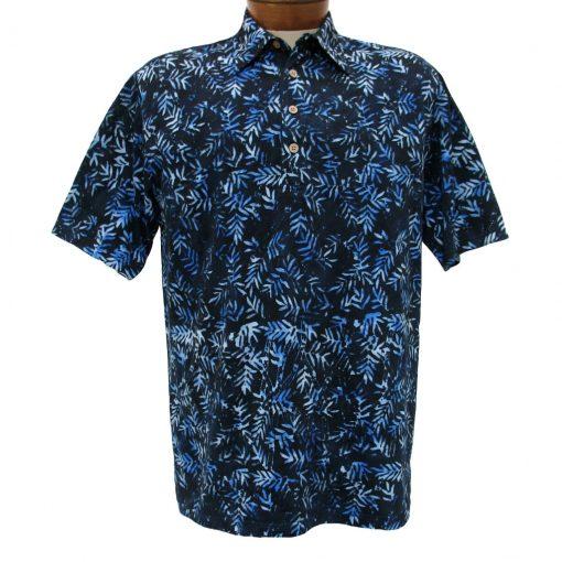 Men's Basic Options® Short Sleeve Knit Pull Over Batik Shirt #61868-3, Blue Bamboo