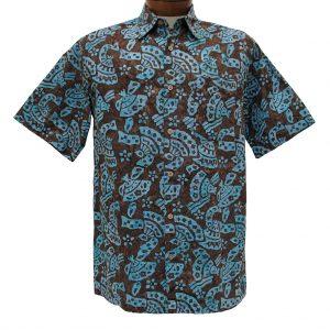 Basic Options® Short SleeveBrown Abstract Button Front Batik Shirt #61844-7