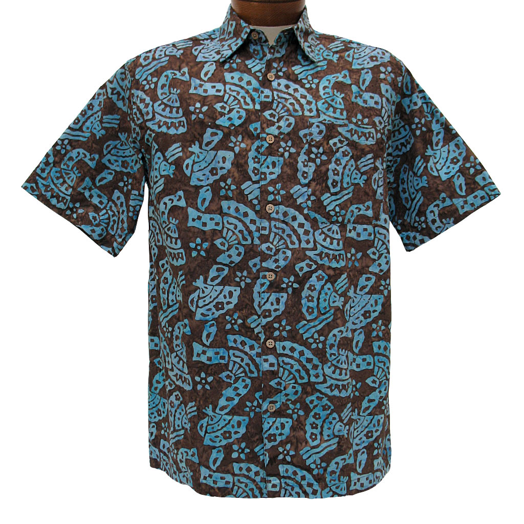 Menu0027s Basic Options® Short Sleeve Brown Abstract Button Front Batik Shirt
