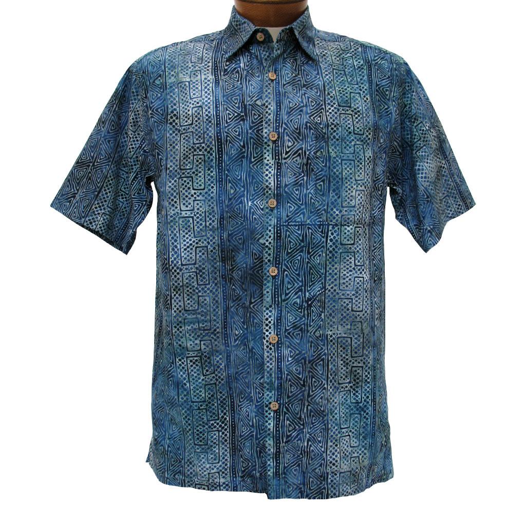 Men 39 s basic options short sleeve indigo abstract stripe for Men s batik bay silk blend button down shirt