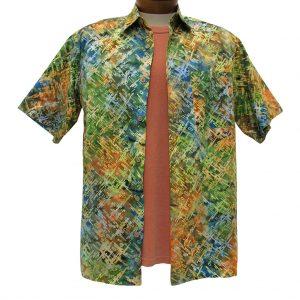 Men's Basic Options Short Sleeve Multi Digital Button Front Batik Shirt #61847-4