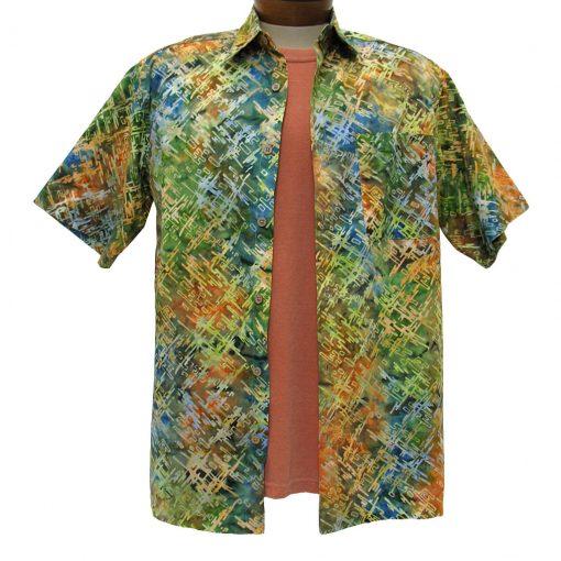 Men's Basic Options® Short Sleeve Multi Digital Button Front Batik Shirt