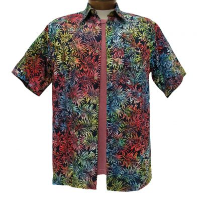 Men's Basic Options® Short Sleeve Navy Multi Leaves Button Front Batik Shirt