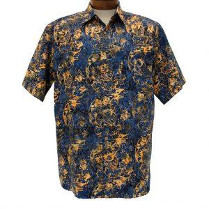 Men's Basic Options® Short Sleeve Navy Fish Button Front Batik Shirt #61850-3