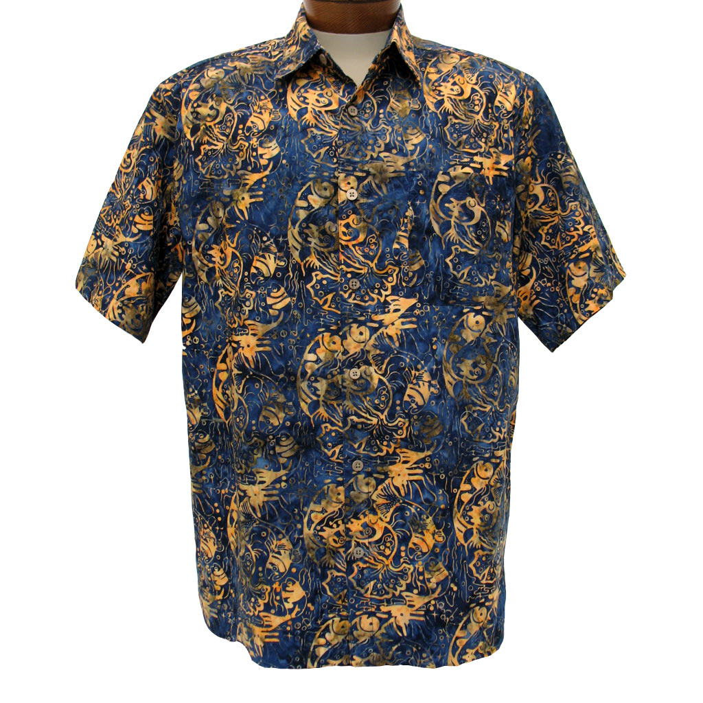 Men's Basic Options Short Sleeve Navy Fish Button Front
