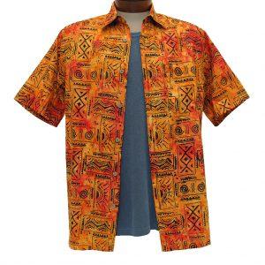 Men's Basic Options® Short Sleeve Sunset Tribal Button Front Batik Shirt #61851-5