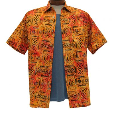 Men's Basic Options® Short Sleeve Sunset Tribal Button Front Batik Shirt