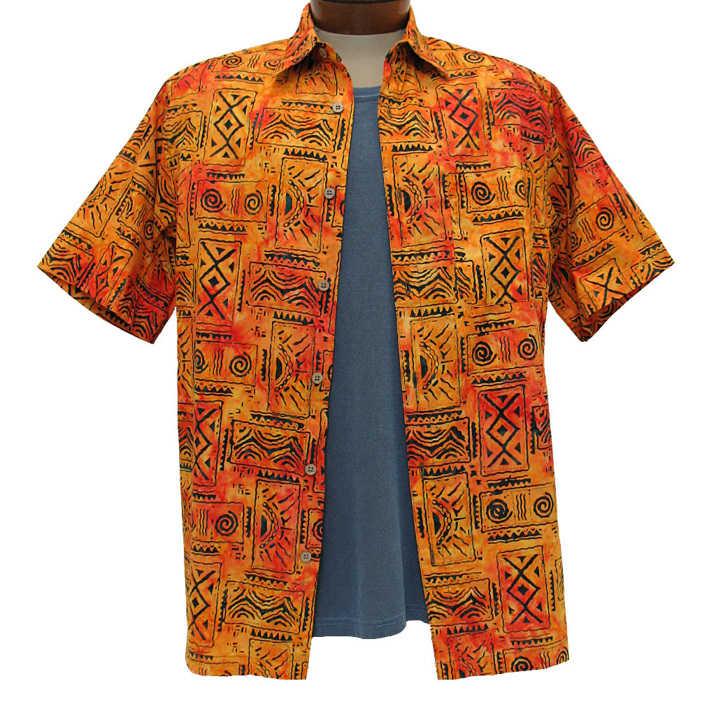 Men's Basic Options Short Sleeve Sunset Tribal Button
