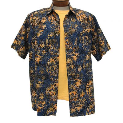 Men's Basic Options Short Sleeve Navy Fish Button Front Batik Shirt #61850-3