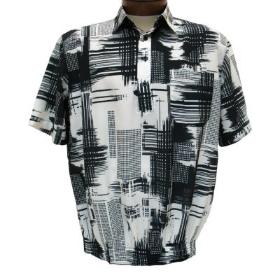 Men's Bassiri® Microfiber-Polyester Short Sleeve Banded Bottom Shirt Black/Cream, #60505 Only Available At Richard David For Men!