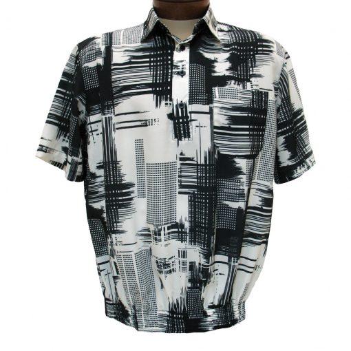 Men's Bassiri® Microfiber-Polyester Short Sleeve Banded Bottom Shirt Black/Cream, #60505 Only Available At Richard David For Men!