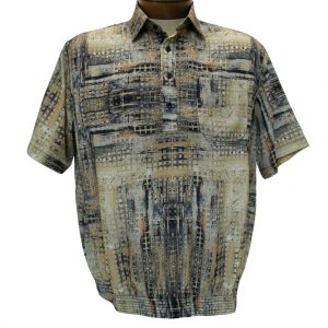 Men's Bassiri® Microfiber-Polyester Short Sleeve Banded Bottom Shirt Taupe, #61425 Only Available At Richard David For Men!