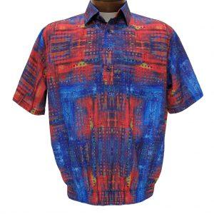 Men's Bassiri Microfiber-Polyester Short Sleeve Banded Bottom Shirt Multi, #61475 (L, ONLY!)