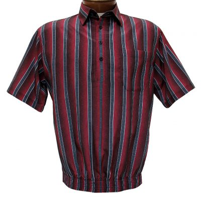 Men's Bassiri® Microfiber-Polyester Short Sleeve Banded Bottom Shirt Wine, #61625 Only Available At Richard David For Men!