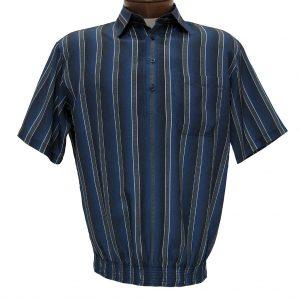 Men's Bassiri Microfiber-Polyester Short Sleeve Banded Bottom Shirt Blue, #61635