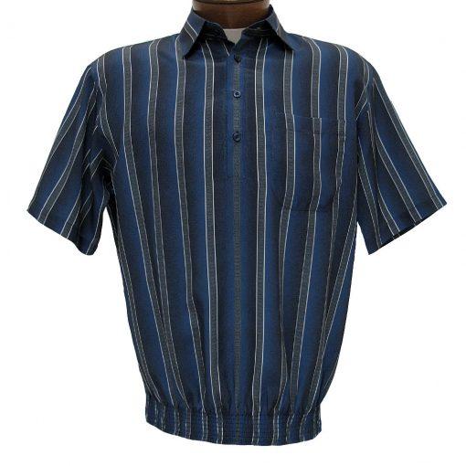 Men's Bassiri® Microfiber-Polyester Short Sleeve Banded Bottom Shirt Beige, #61935 Only Available At Richard David For Men!