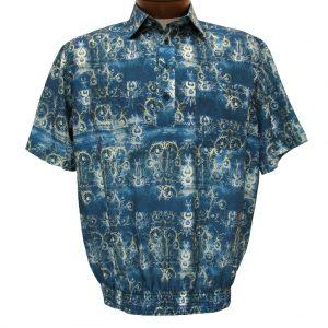 Men's Bassiri Microfiber-Polyester Short Sleeve Banded Bottom Shirt Blue, #61655 (XXL, ONLY!)